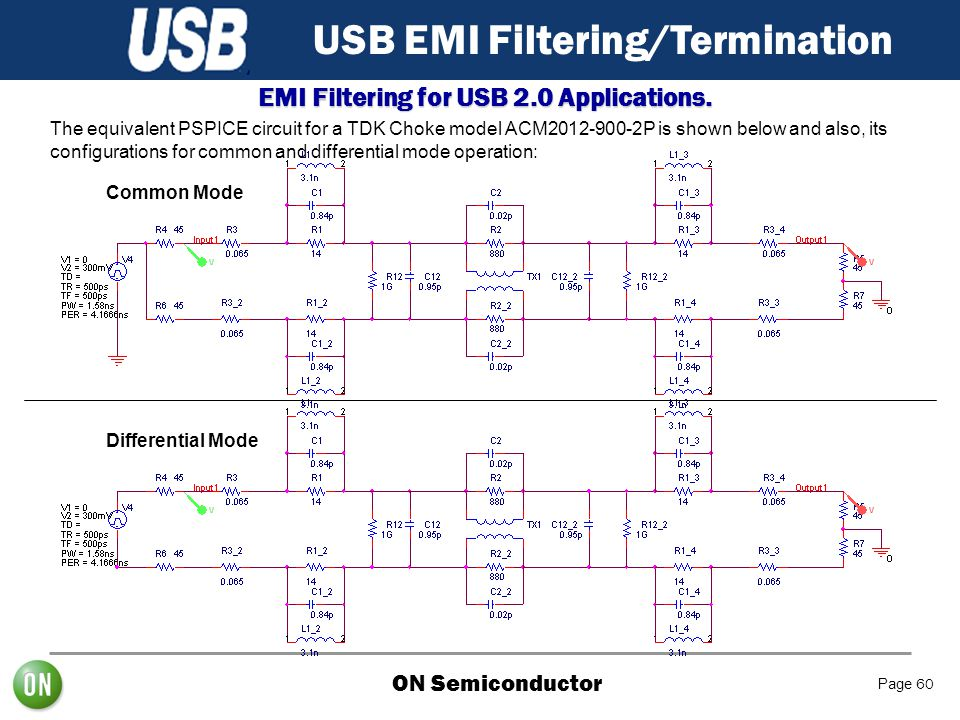 ON Semiconductor Page 60 USB EMI Filtering/Termination EMI Filtering for USB 2.0 Applications. The equivalent PSPICE circuit for a TDK Choke model ACM