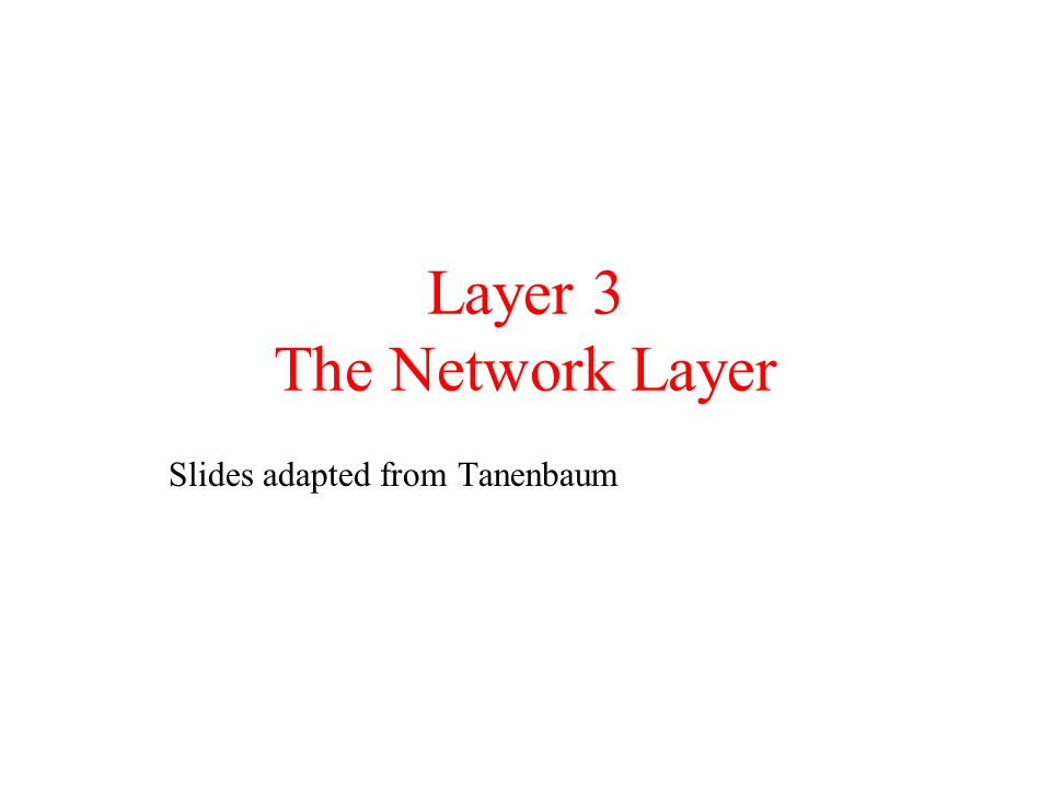 Layer 3 The Network Layer Slides adapted from Tanenbaum
