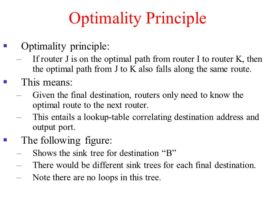 Optimality Principle  Optimality principle: –If router J is on the optimal path from router I to router K, then the optimal path from J to K also fal