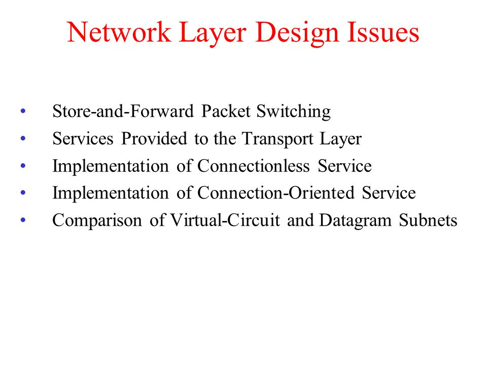 Network Layer Design Issues Store-and-Forward Packet Switching Services Provided to the Transport Layer Implementation of Connectionless Service Imple