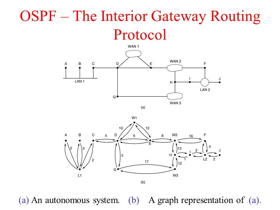 OSPF – The Interior Gateway Routing Protocol (a) An autonomous system. (b) A graph representation of (a).
