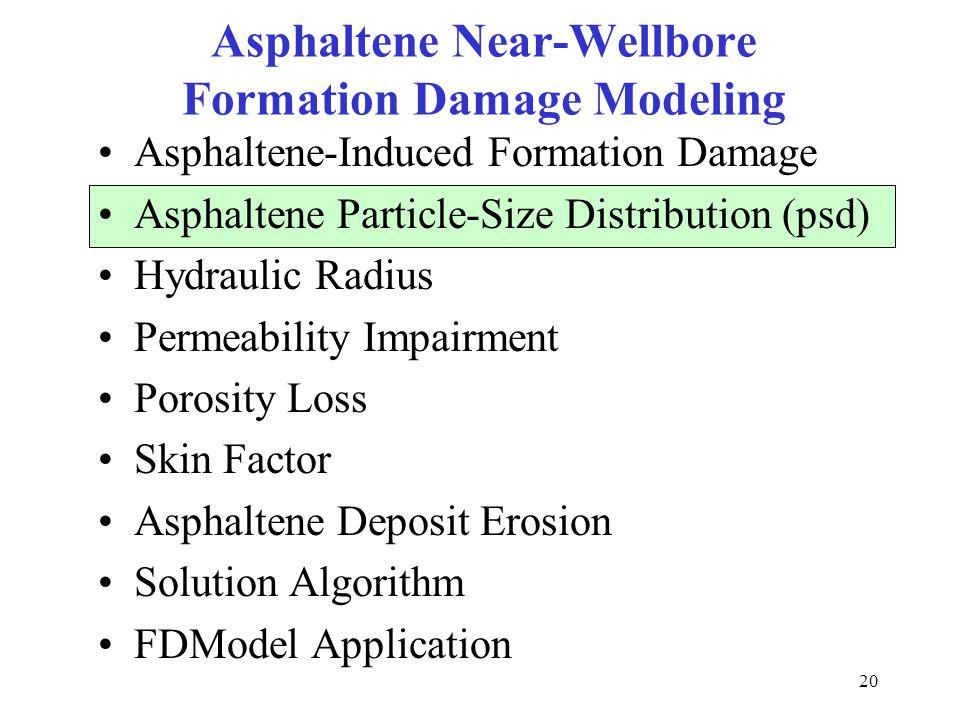 20 Asphaltene Near-Wellbore Formation Damage Modeling Asphaltene-Induced Formation Damage Asphaltene Particle-Size Distribution (psd) Hydraulic Radius