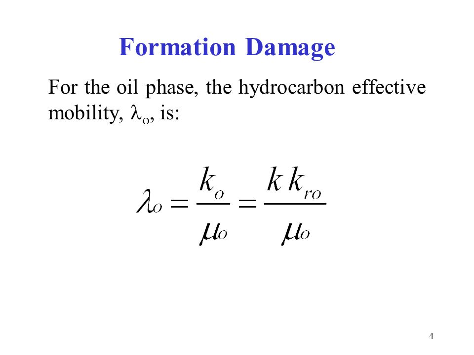 5 Asphaltene-Induced Formation Damage Mechanisms Absolute permeability impairment (k) Wettability Changes (k ro ) Viscosity (  o ) increase due to: –Emulsion formation –Asphaltene particle increase near the borehole
