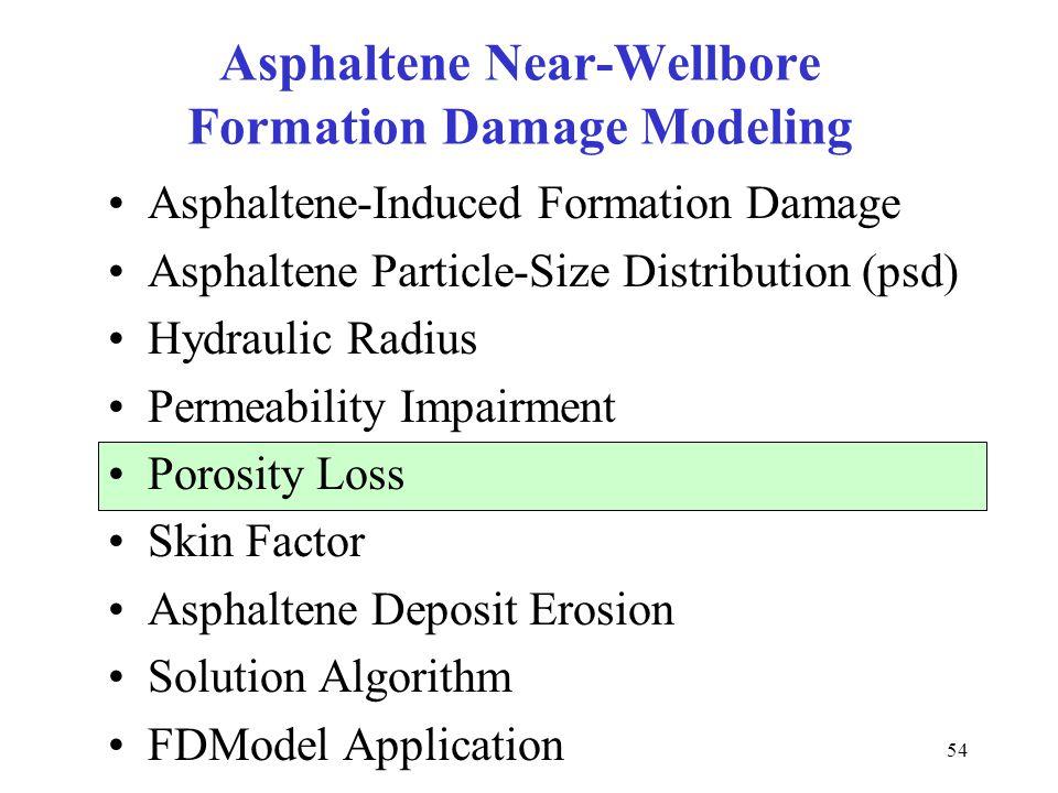 54 Asphaltene Near-Wellbore Formation Damage Modeling Asphaltene-Induced Formation Damage Asphaltene Particle-Size Distribution (psd) Hydraulic Radius