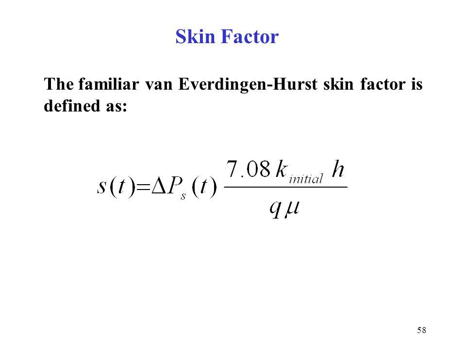 58 The familiar van Everdingen-Hurst skin factor is defined as: Skin Factor