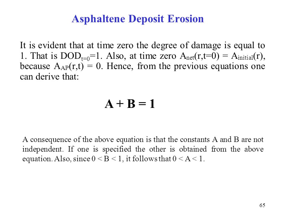 65 It is evident that at time zero the degree of damage is equal to 1. That is DOD t=0 =1. Also, at time zero A net (r,t=0) = A initial (r), because A