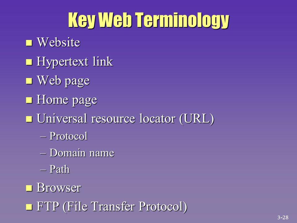 Key Web Terminology n Website n Hypertext link n Web page n Home page n Universal resource locator (URL) –Protocol –Domain name –Path n Browser n FTP