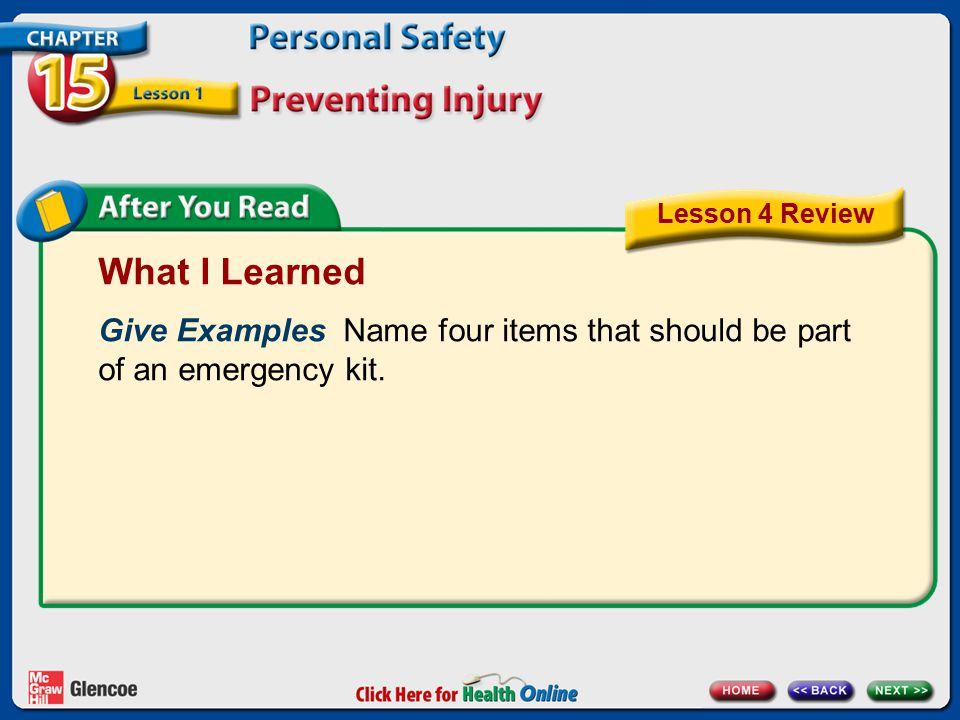 What I Learned Give Examples Name four items that should be part of an emergency kit. Lesson 4 Review