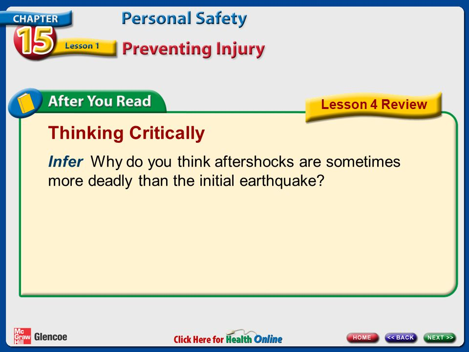 Thinking Critically Infer Why do you think aftershocks are sometimes more deadly than the initial earthquake? Lesson 4 Review
