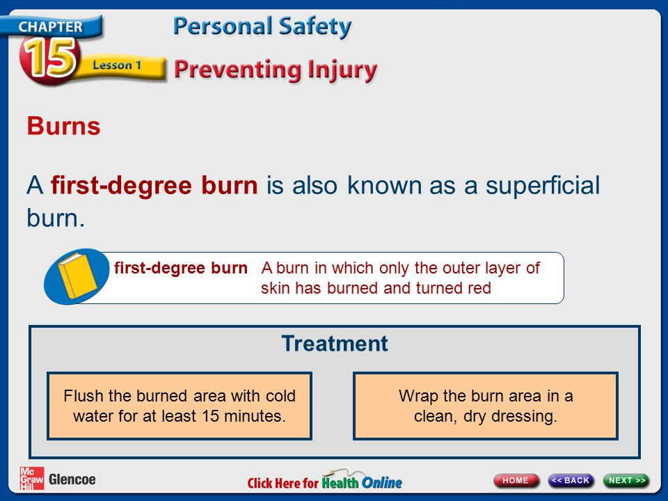 Burns A first-degree burn is also known as a superficial burn. first-degree burn A burn in which only the outer layer of skin has burned and turned re