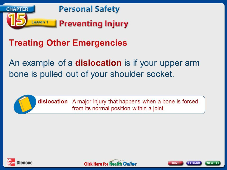 Treating Other Emergencies An example of a dislocation is if your upper arm bone is pulled out of your shoulder socket. dislocation A major injury tha