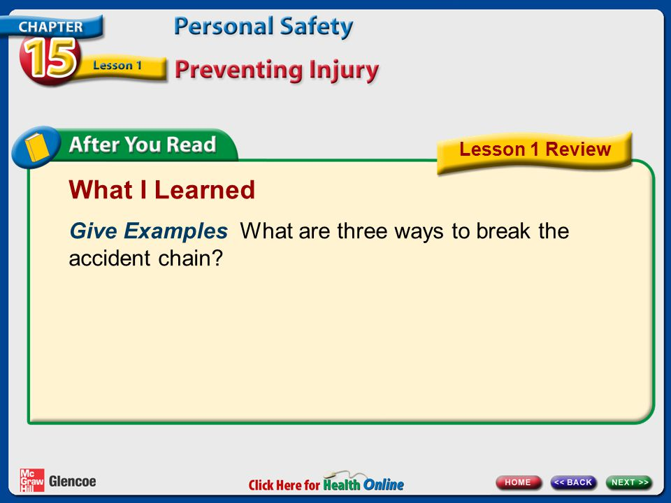 What I Learned Give Examples What are three ways to break the accident chain? Lesson 1 Review