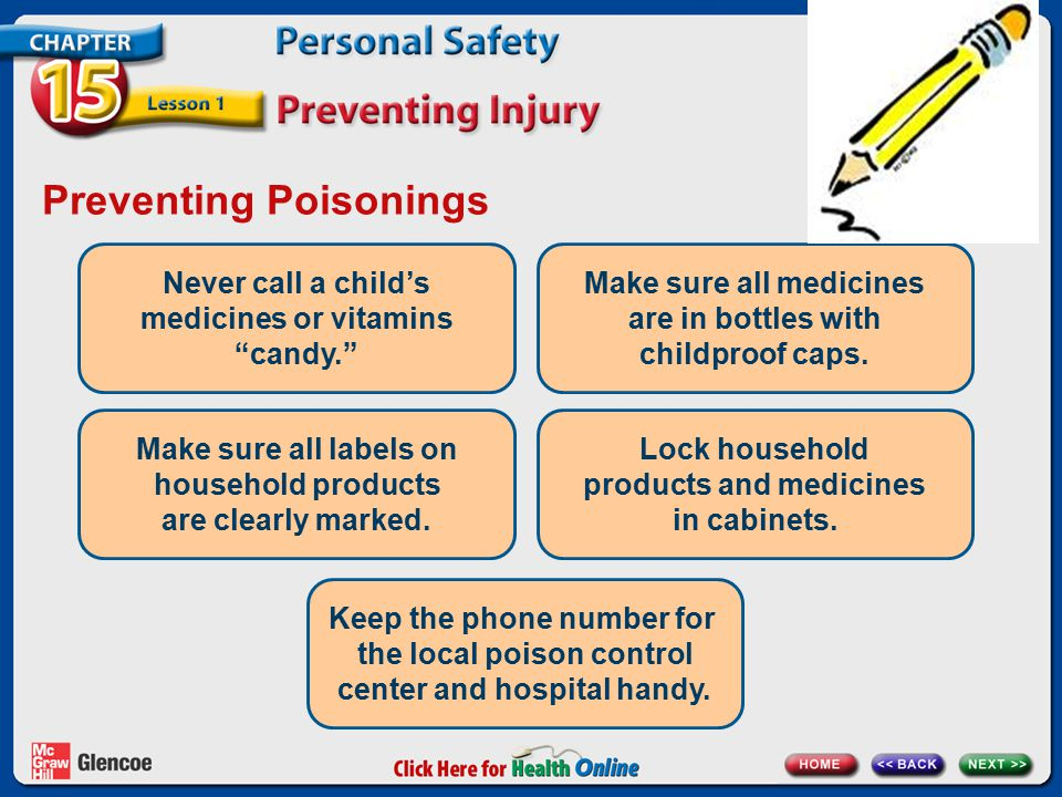 "Preventing Poisonings Never call a child's medicines or vitamins ""candy."" Make sure all medicines are in bottles with childproof caps. Make sure all l"