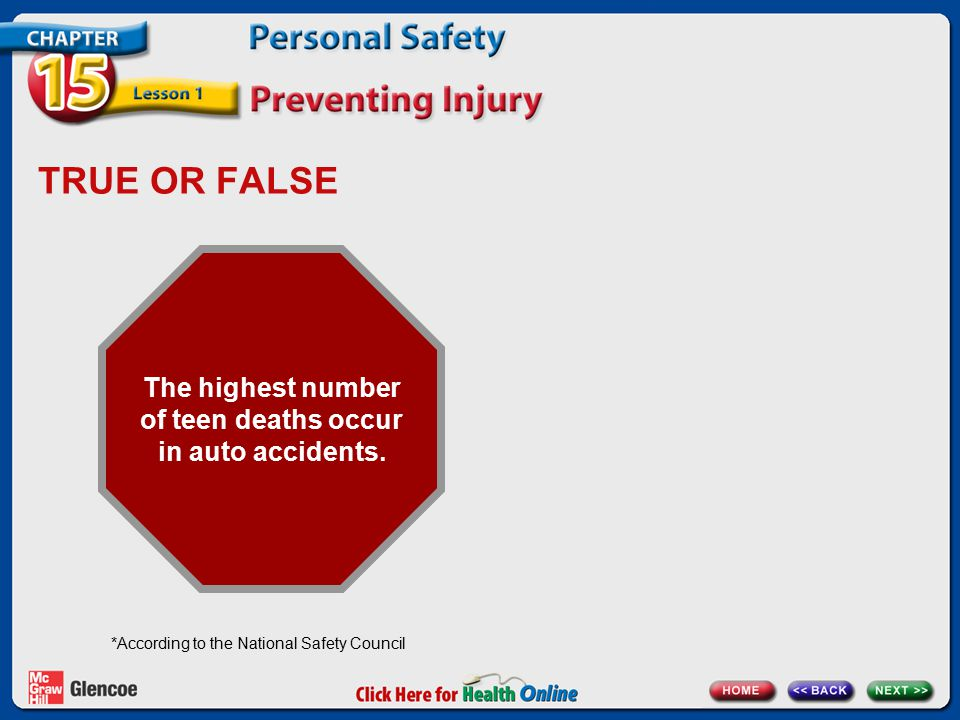 TRUE OR FALSE The highest number of teen deaths occur in auto accidents. *According to the National Safety Council