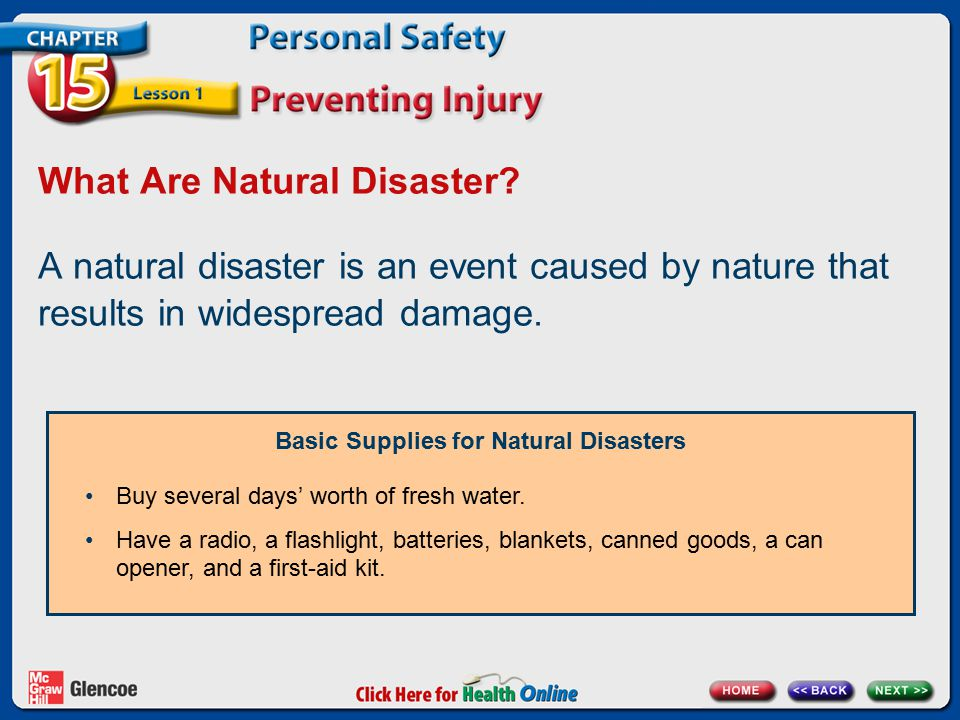 What Are Natural Disaster? A natural disaster is an event caused by nature that results in widespread damage. Basic Supplies for Natural Disasters Buy