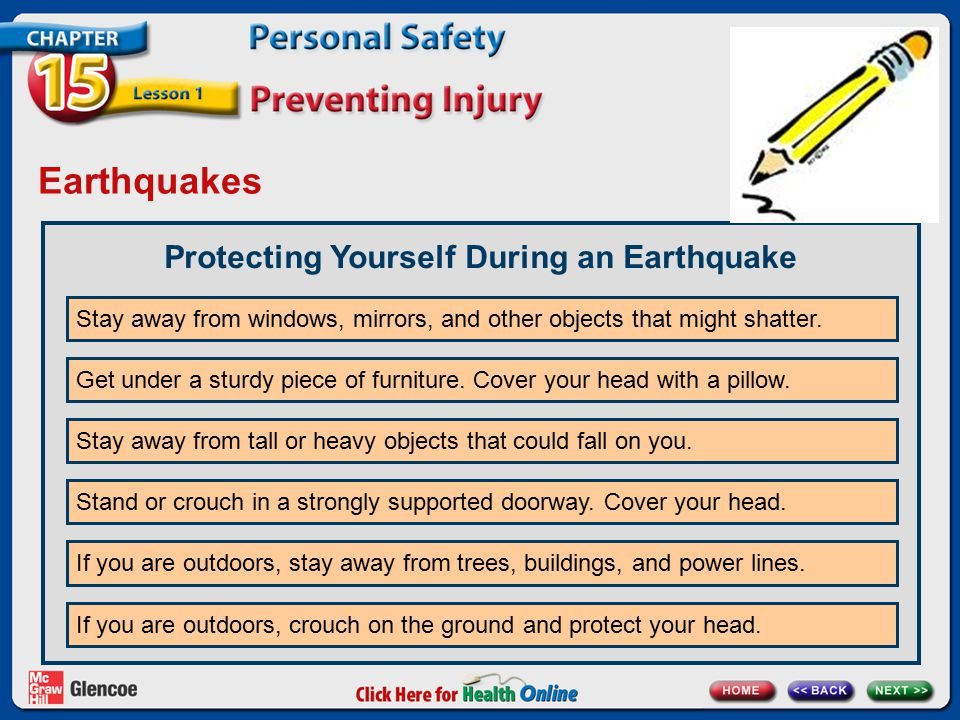 Earthquakes Protecting Yourself During an Earthquake Stay away from windows, mirrors, and other objects that might shatter. Get under a sturdy piece o