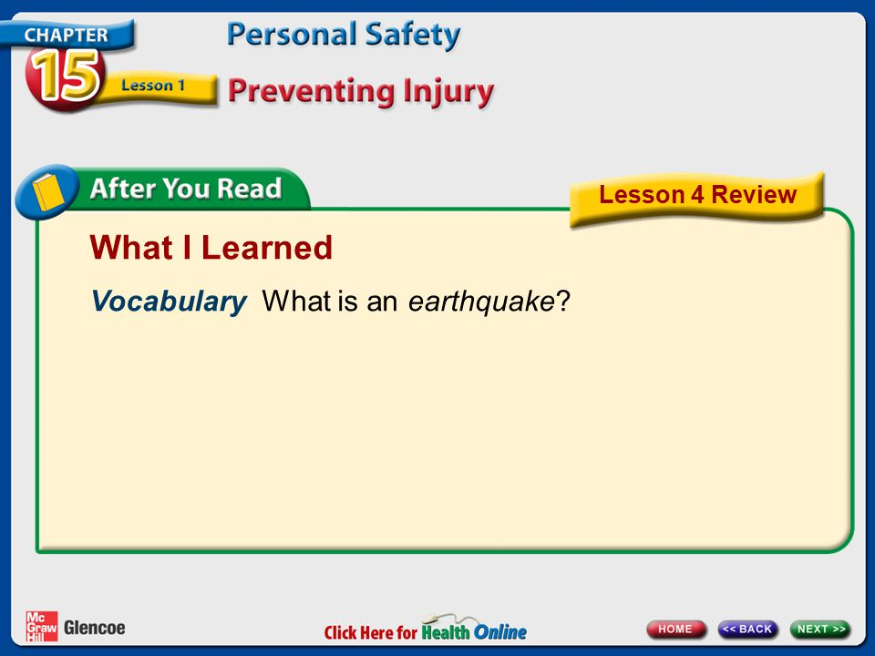 What I Learned Vocabulary What is an earthquake? Lesson 4 Review