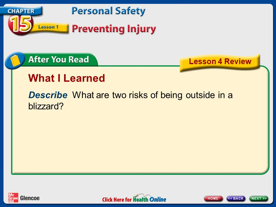 What I Learned Describe What are two risks of being outside in a blizzard? Lesson 4 Review