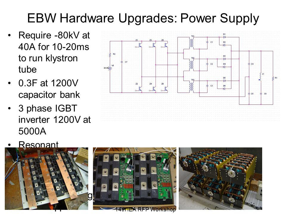 EBW Hardware Upgrades: Power Supply Require -80kV at 40A for 10-20ms to run klystron tube 0.3F at 1200V capacitor bank 3 phase IGBT inverter 1200V at 5000A Resonant transformers Voltage doubling rectifier Harmonic filtering for low ripple 14th IEA RFP Workshop