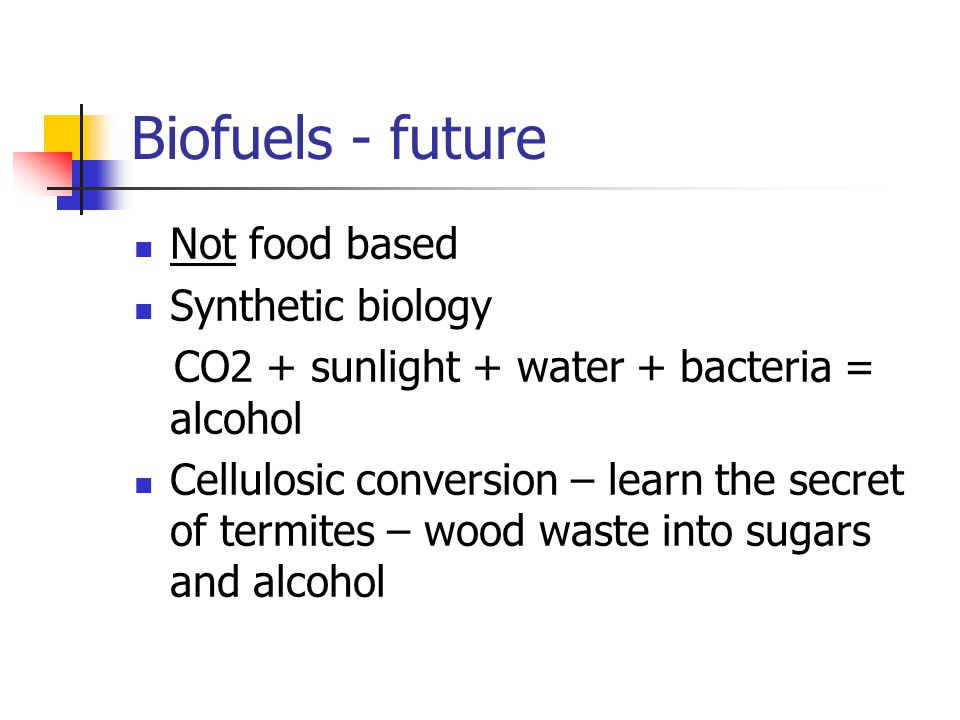 Biofuels - future Not food based Synthetic biology CO2 + sunlight + water + bacteria = alcohol Cellulosic conversion – learn the secret of termites – wood waste into sugars and alcohol