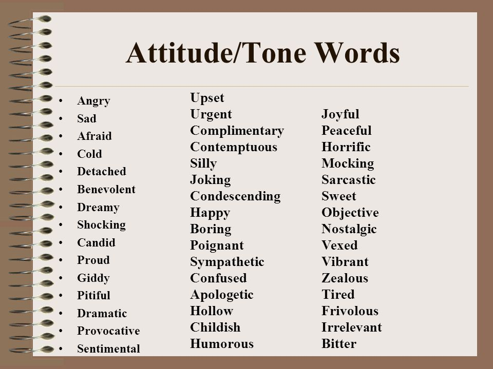 Attitude/Tone Words Angry Sad Afraid Cold Detached Benevolent Dreamy Shocking Candid Proud Giddy Pitiful Dramatic Provocative Sentimental Upset Urgent