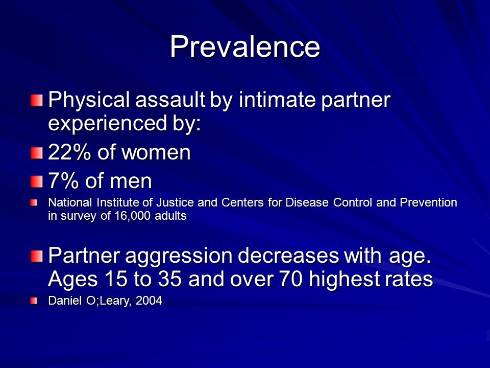 Prevalence Physical assault by intimate partner experienced by: 22% of women 7% of men National Institute of Justice and Centers for Disease Control and Prevention in survey of 16,000 adults Partner aggression decreases with age.