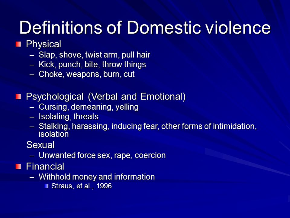 Domestic Violence: a broad concept It is not one size fits all Not all violence is the same Differentiation assessment leads to differentiated parenting plans