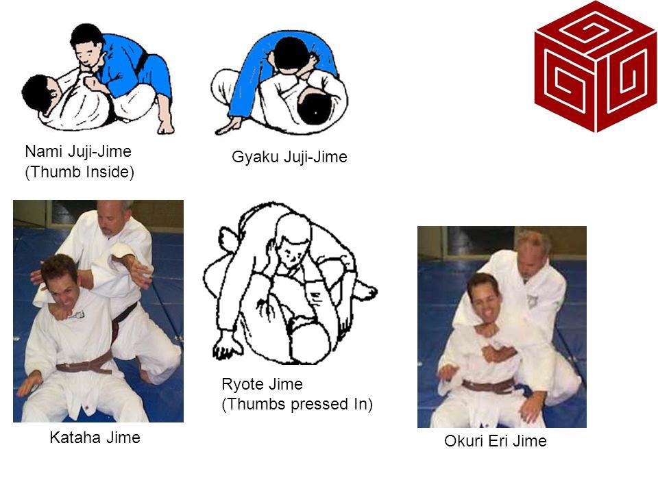 Nami Juji-Jime Gyaku Juji-Jime (Thumb Inside) Okuri Eri Jime Kataha Jime Ryote Jime (Thumbs pressed In)