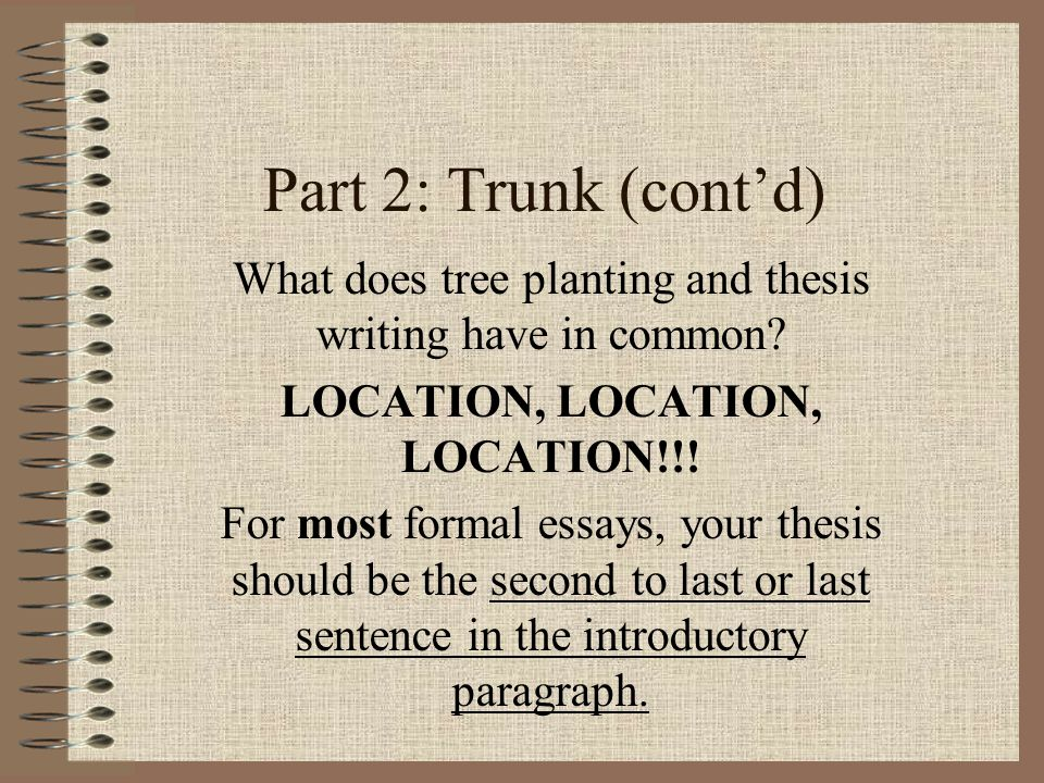 Part 2: Trunk (cont'd) What does tree planting and thesis writing have in common.