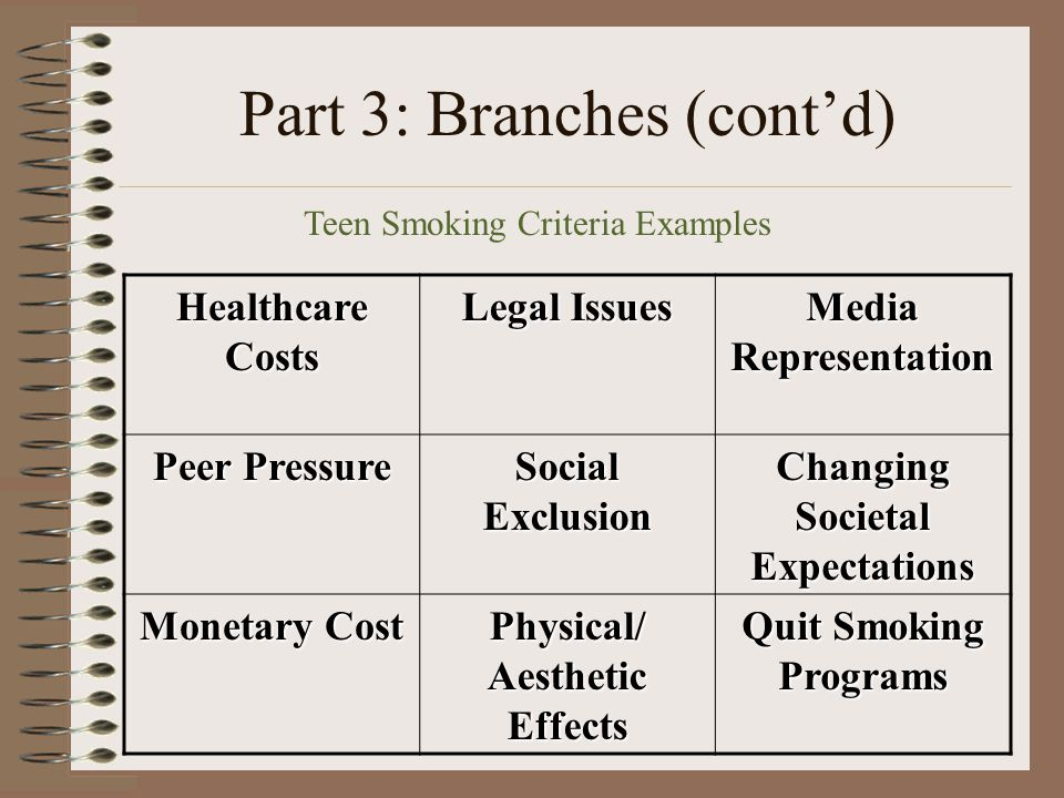 Part 3: Branches (cont'd) Healthcare Costs Legal Issues Media Representation Peer Pressure Social Exclusion Changing Societal Expectations Monetary Cost Physical/ Aesthetic Effects Quit Smoking Programs Teen Smoking Criteria Examples