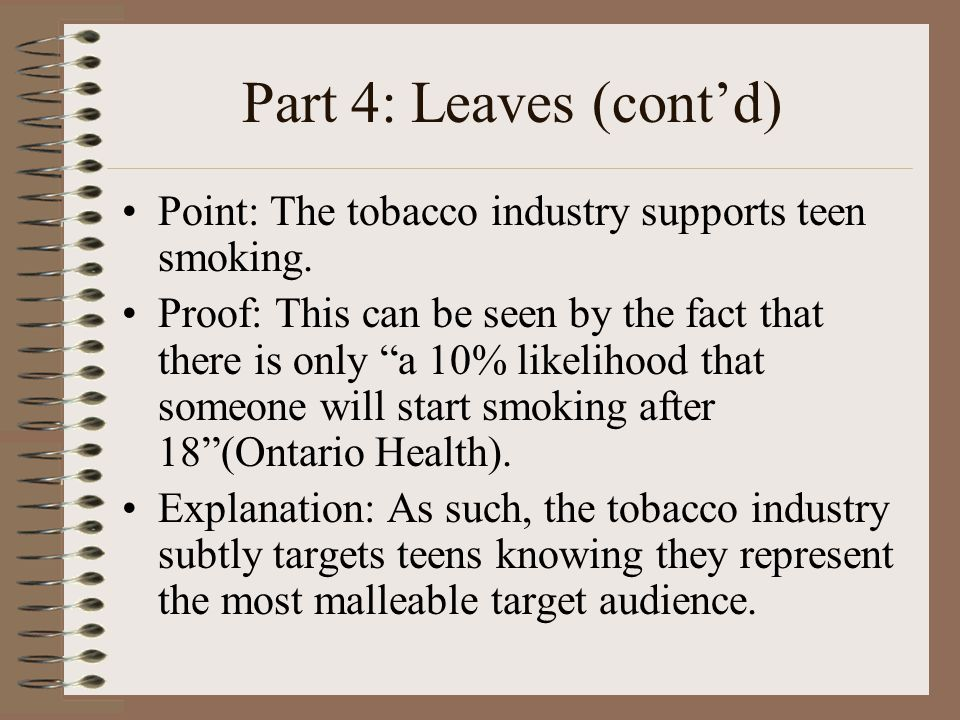 Part 4: Leaves (cont'd) Point: The tobacco industry supports teen smoking.