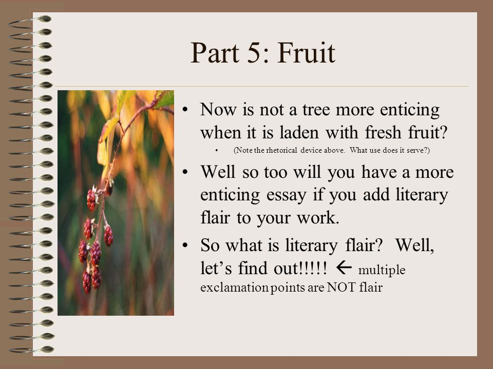 Part 5: Fruit Now is not a tree more enticing when it is laden with fresh fruit.