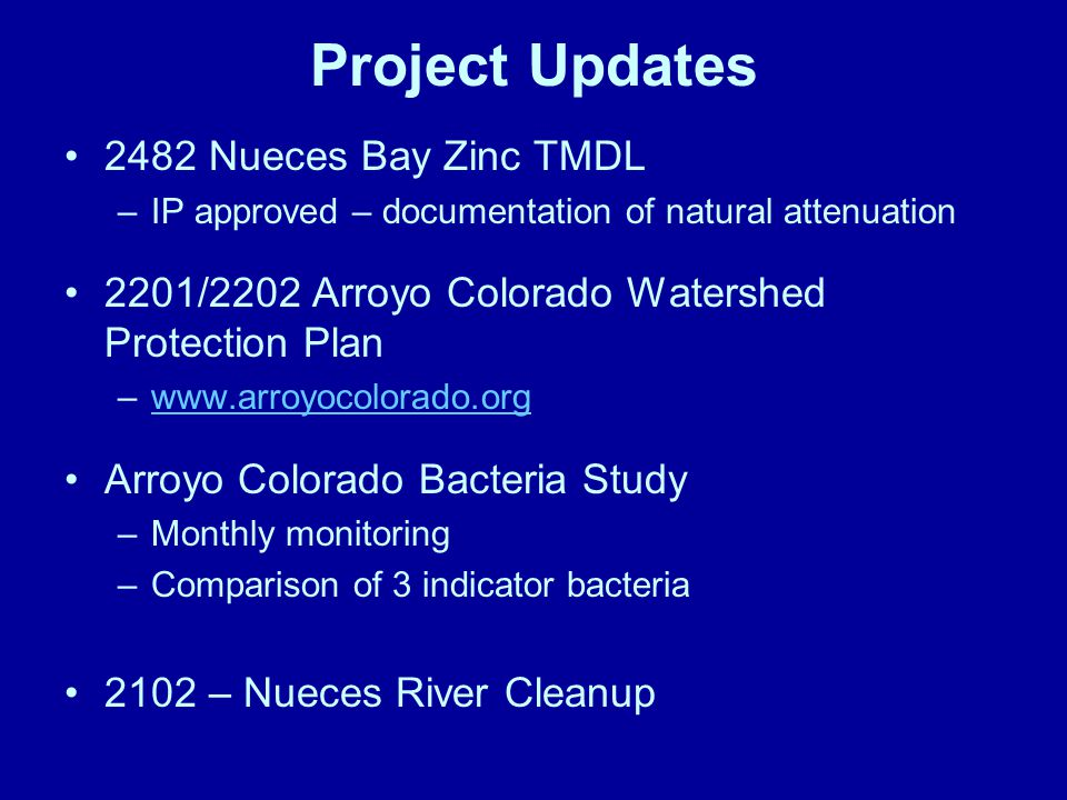 Project Updates 2482 Nueces Bay Zinc TMDL –IP approved – documentation of natural attenuation 2201/2202 Arroyo Colorado Watershed Protection Plan –www.arroyocolorado.orgwww.arroyocolorado.org Arroyo Colorado Bacteria Study –Monthly monitoring –Comparison of 3 indicator bacteria 2102 – Nueces River Cleanup
