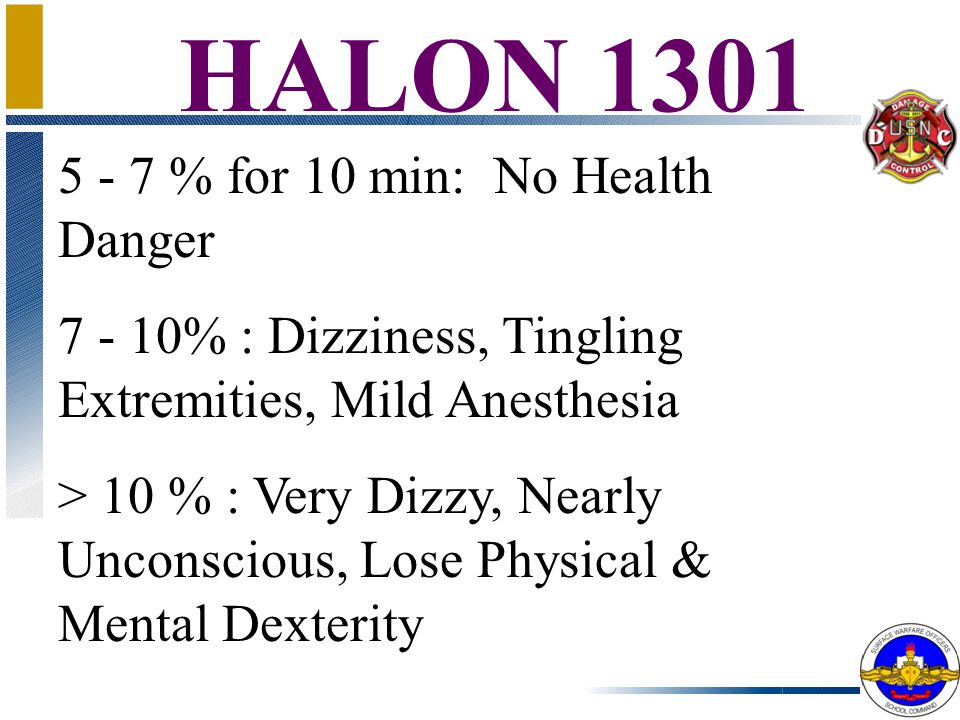 HALON 1301 (BromoTriFlouroMethane) Colorless, Odorless 5 Times Heavier Than Air Frostbite Attacks Nervous System, Dry Land Drowning Decomposes at High Temps: HF, HCl, HBr