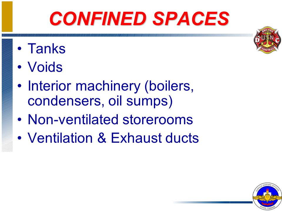 CONFINED SPACE CHARACTERISTICS Large enough for worker to enter Contains or can contain hazardous atmosphere produced by sludge, chemicals, sewage Laid out so anyone who enters may be trapped or asphyxiated