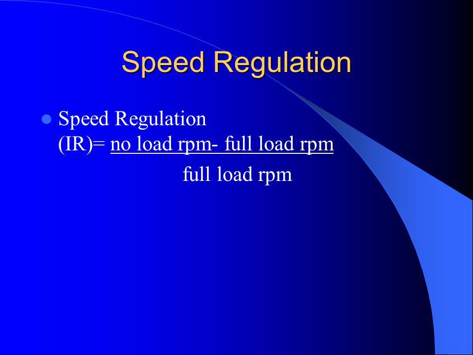 Speed Regulation Speed Regulation (IR)= no load rpm- full load rpm full load rpm