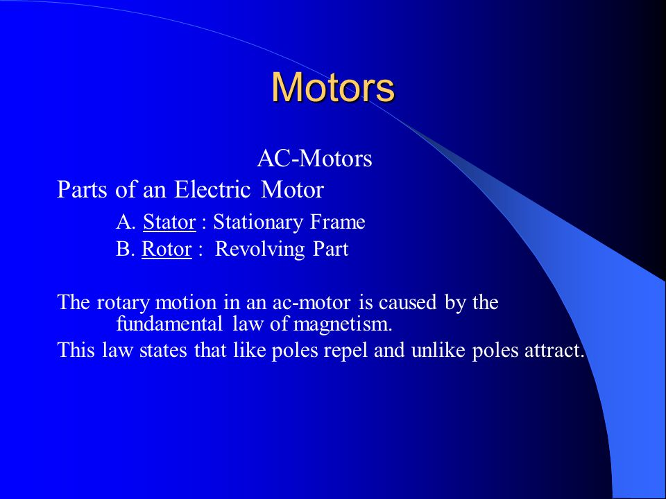 Magnetic Motor Starter Normally open contacts Not always possible to control amount of work applied to the motor Has overloads – Motor may be overloaded resulting in damage to the motor – Open due to excessive motor current, high temperature, or a combination of both