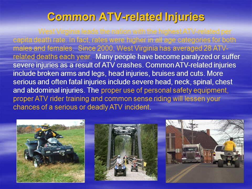 Common ATV-related Injuries West Virginia leads the nation with the highest ATV-related per capita death rate.