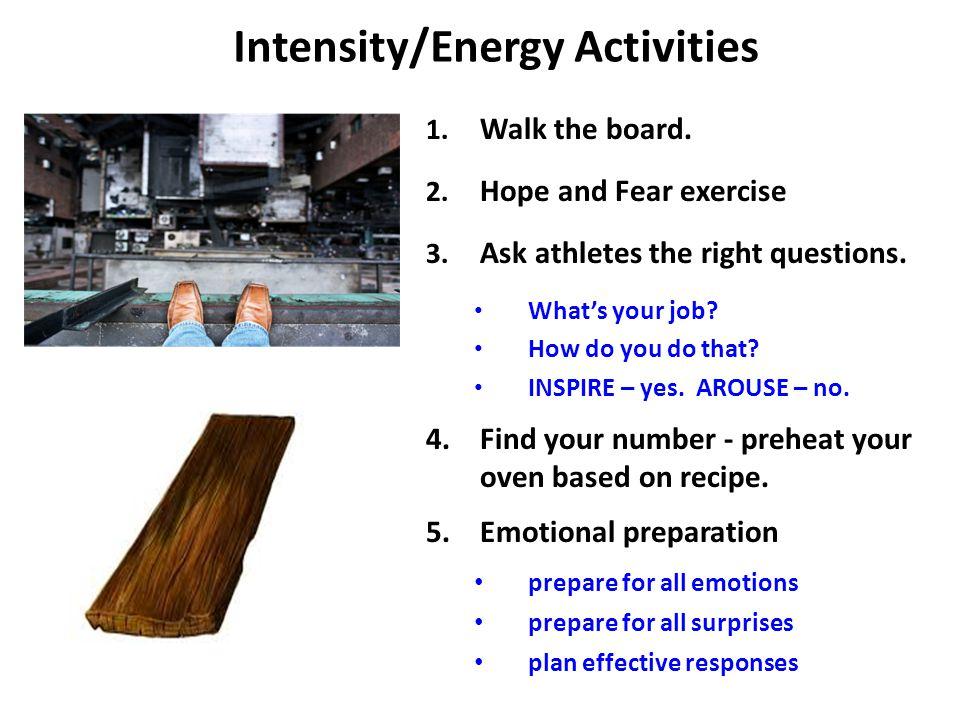 Intensity/Energy Activities 1. Walk the board. 2.