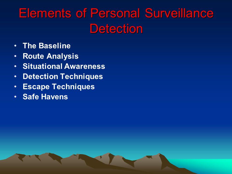 Elements of Personal Surveillance Detection The Baseline Route Analysis Situational Awareness Detection Techniques Escape Techniques Safe Havens