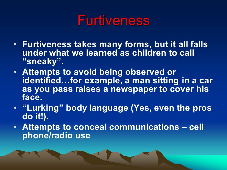 Furtiveness Furtiveness takes many forms, but it all falls under what we learned as children to call sneaky .