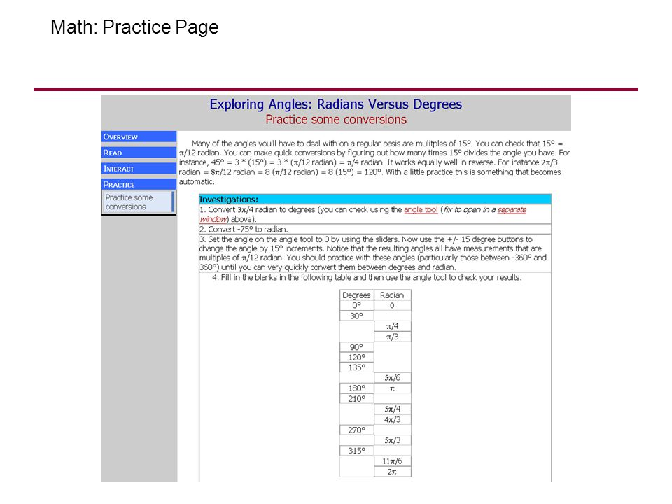 Math: Practice Page