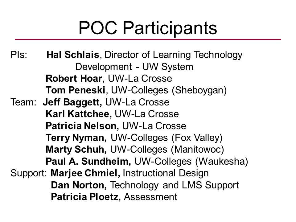 POC Participants PIs: Hal Schlais, Director of Learning Technology Development - UW System Robert Hoar, UW-La Crosse Tom Peneski, UW-Colleges (Sheboygan) Team: Jeff Baggett, UW-La Crosse Karl Kattchee, UW-La Crosse Patricia Nelson, UW-La Crosse Terry Nyman, UW-Colleges (Fox Valley) Marty Schuh, UW-Colleges (Manitowoc) Paul A.