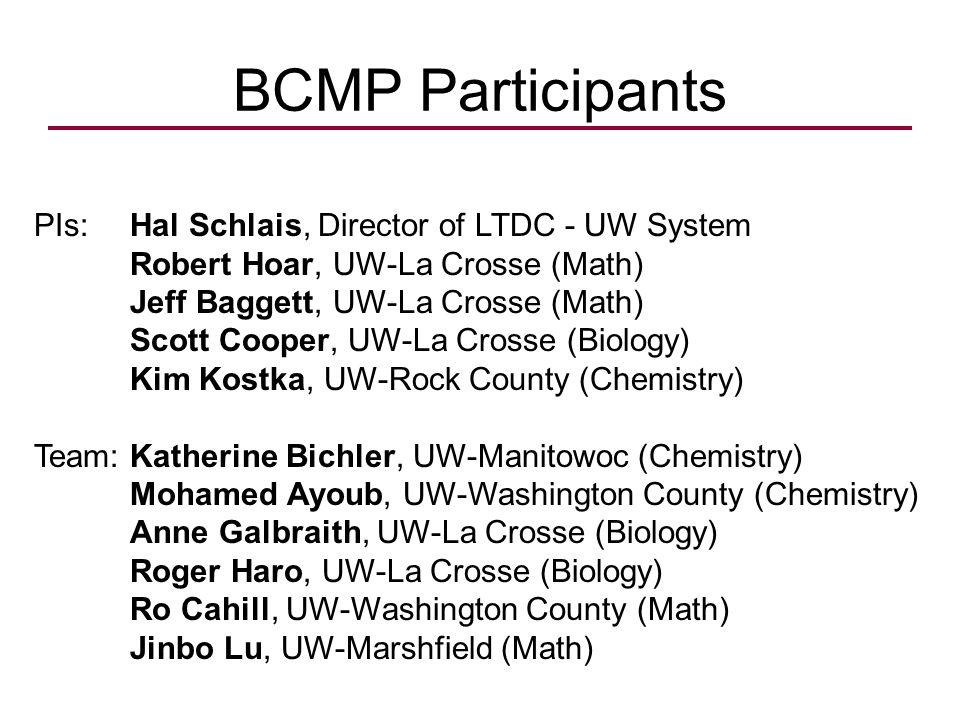 BCMP Participants PIs: Hal Schlais, Director of LTDC - UW System Robert Hoar, UW-La Crosse (Math) Jeff Baggett, UW-La Crosse (Math) Scott Cooper, UW-La Crosse (Biology) Kim Kostka, UW-Rock County (Chemistry) Team: Katherine Bichler, UW-Manitowoc (Chemistry) Mohamed Ayoub, UW-Washington County (Chemistry) Anne Galbraith, UW-La Crosse (Biology) Roger Haro, UW-La Crosse (Biology) Ro Cahill, UW-Washington County (Math) Jinbo Lu, UW-Marshfield (Math)