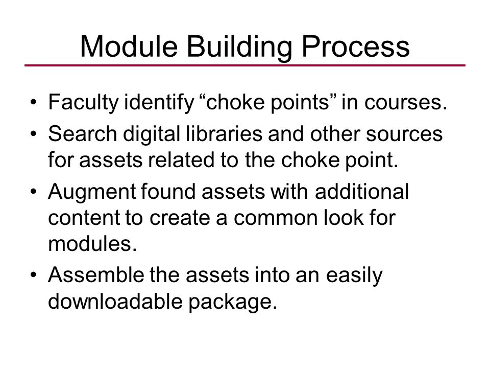 "Module Building Process Faculty identify ""choke points"" in courses. Search digital libraries and other sources for assets related to the choke point."