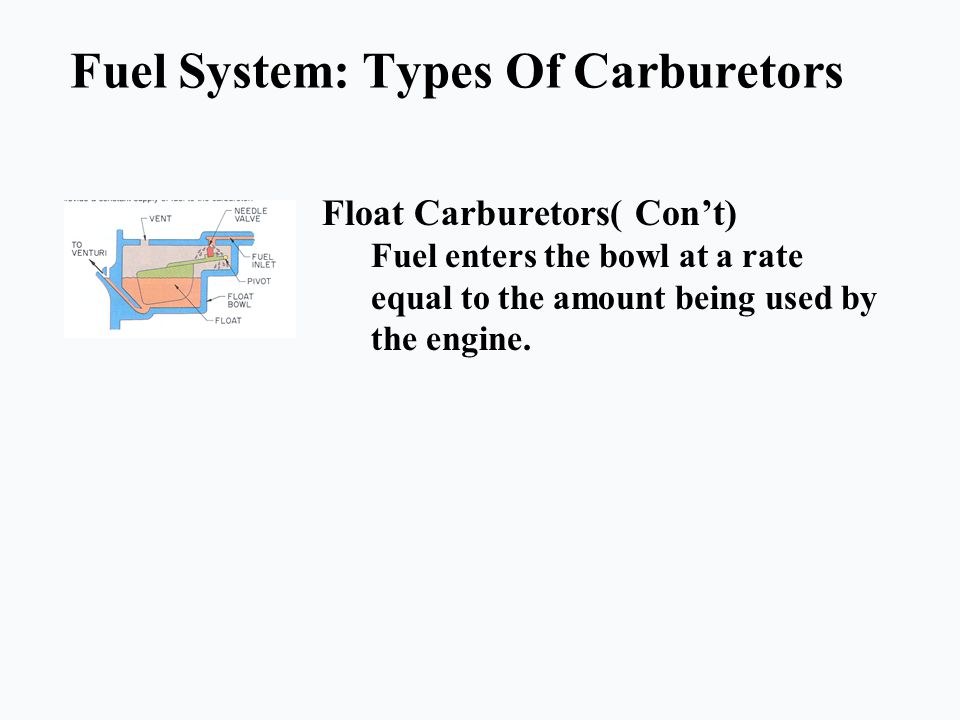 Fuel System: Types Of Carburetors Float Carburetors( Con't) Fuel enters the bowl at a rate equal to the amount being used by the engine.