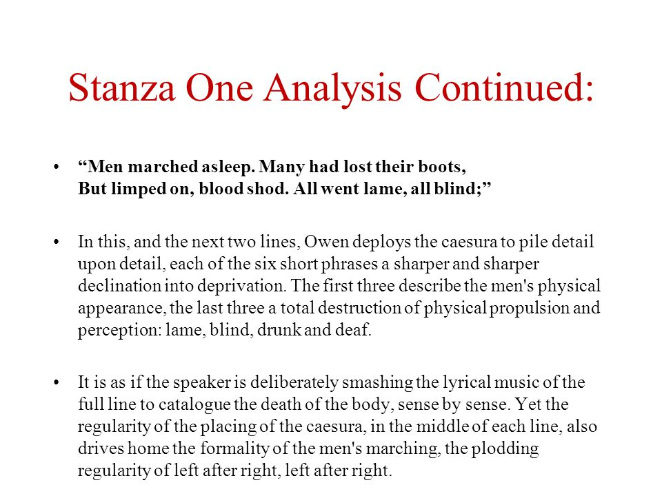 Stanza One Analysis Continued: Men marched asleep.