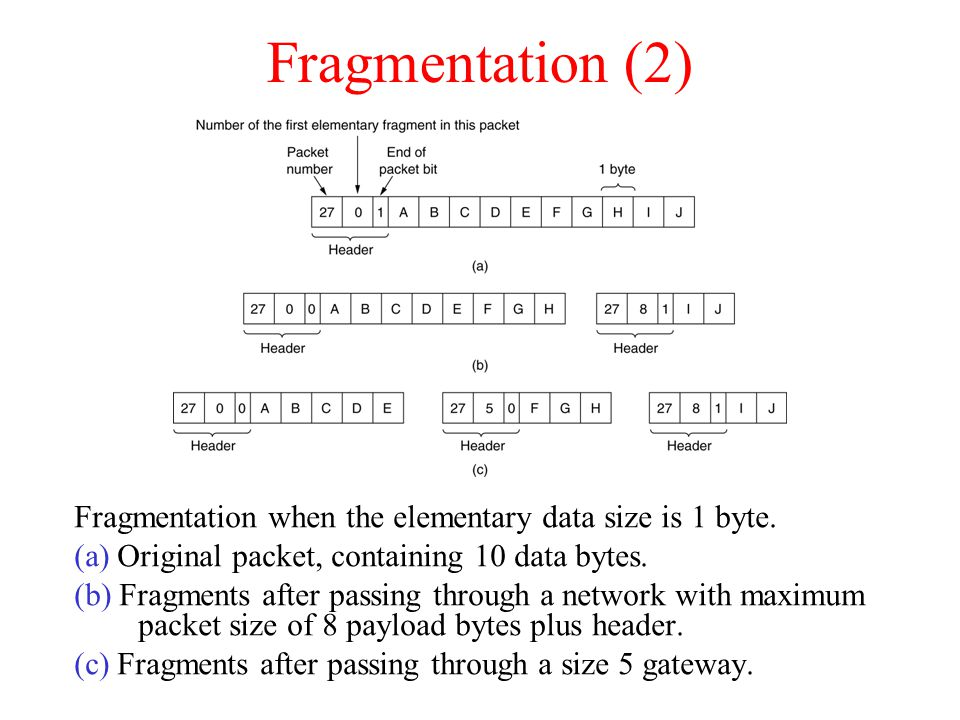 Fragmentation (2)‏ Fragmentation when the elementary data size is 1 byte.