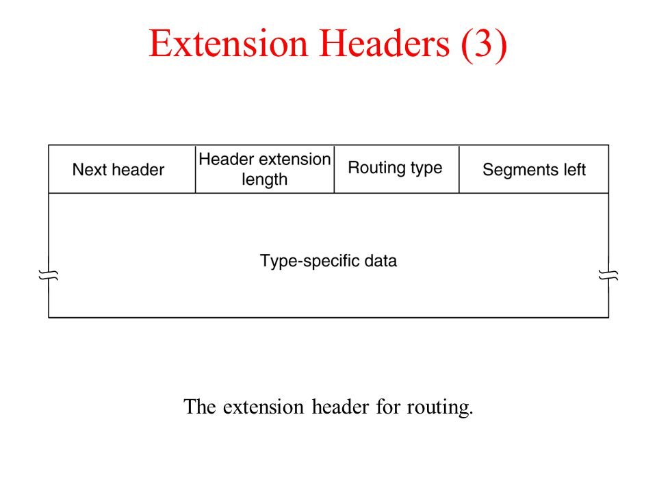 Extension Headers (3)‏ The extension header for routing.