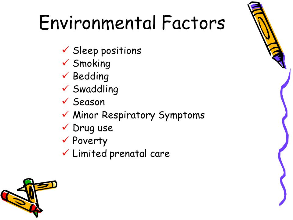 Environmental Factors Sleep positions Smoking Bedding Swaddling Season Minor Respiratory Symptoms Drug use Poverty Limited prenatal care